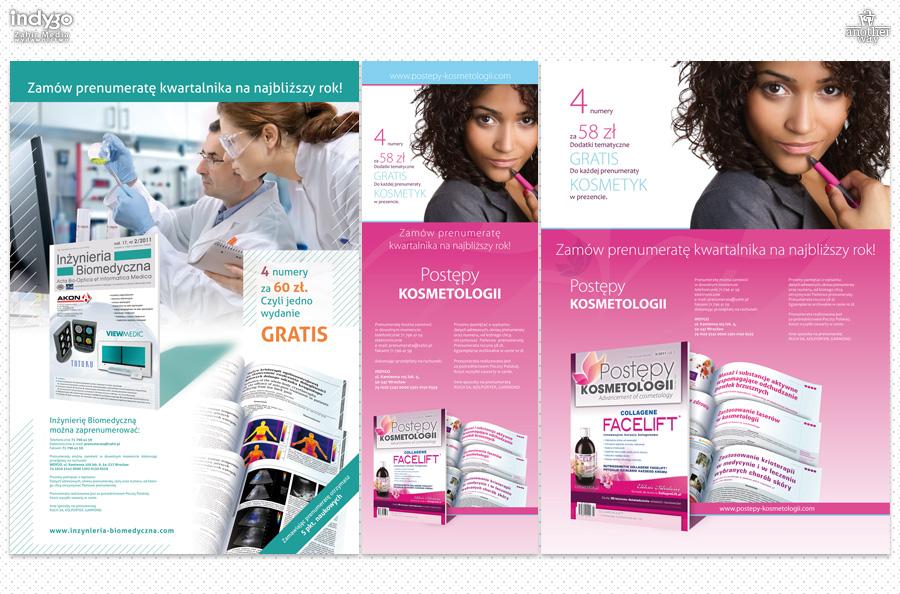 Reklamy dwóch kwartalników – Inżynieria Biomedyczna orazPostępy Kosmetologii
