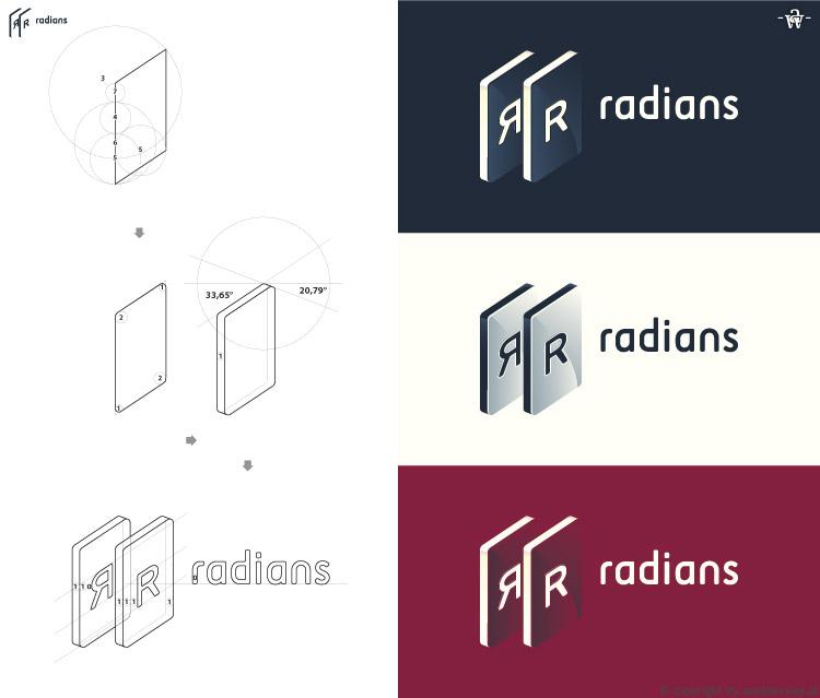 Radians - logo - budowa ipowstanie + wersje aletrnetywne