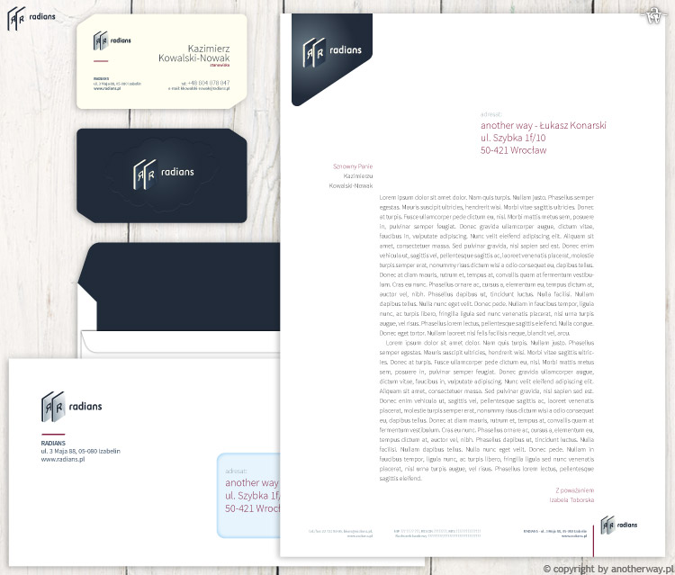 Radians - wizytówka, koperta ipapier firmowy